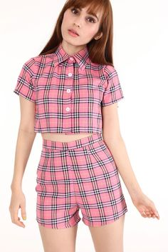 Image of Made To Order - Katie Tartan Top & Shorts Set in Pink
