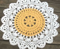 Rose Pink and White Crochet Doily Cotton Rug by byCamilleDesigns