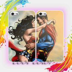 Wonderwoman and Superman Romantic Couple Design for iPhone 4/4s, iPhone 5/5s/5c, Samsung Galaxy S3/S4 Case on Etsy, $29.90