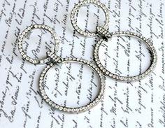 Vintage Earrings Rhinestone Dangling Hoops by VikisVarietyCraft