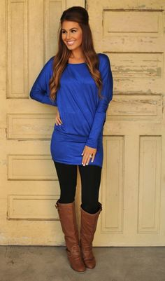 Dottie Couture Boutique - Banded Dolman Tunic- Royal, $29.00 (http://www.dottiecouture.com/banded-dolman-tunic-royal/)