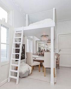 tiny homes and small spaces: bedroom loft using all the space ya' got #Regram via @prefabnsmallhomes