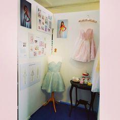 My display! #fashion #designer #pastel #candy #vintage #love #art #dress #skaterdress #pink #blue #follow #fashionshow by ciara Mcparland