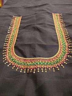 35 Ideas For Embroidery Blouse Saree Gold Embroidery Works, Simple Embroidery, Embroidery Monogram, Hand Embroidery Designs, Beaded Embroidery, Embroidery Patterns, Embroidery Dress, Simple Blouse Designs, Saree Blouse Neck Designs