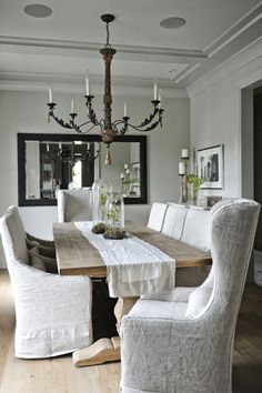 Luxury Dining Room Chair Covers White About Remodel Interior Design Ideas For Home Design with Dining Room Chair Covers White Trestle Dining Tables, Table And Chairs, Room Chairs, Slip Covered Dining Chairs, Lounge Chairs, Pier 1 Dining Table, Dining Room Table Decor, Rocking Chairs, Desk Chairs