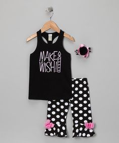 zTake a look at this Black Polka Dot Pants Set - Infant, Toddler & Girls by Bourbon Street Boutique on #zulily today!