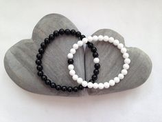 Couples bracelets matching bracelet set with black agate and white quartz his and hers bracelets black and white bracelets by Chalso