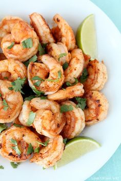 Spicy Cilantro Shrimp with Honey Lime Dipping Sauce - a flavorful, healthy meal you can have ready in under 10 minutes! You are going to love the combination of spicy shrimp with the honey lime sauce! at LoveGrowsWild.com