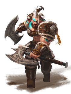 barbarian / fighter with axes padded armour - largely not covering his chest. Nice to see a male character in impractical outfits face tattoo and stylised hair character portrait inspiration for fantasy gaming Fantasy Art Warrior, Fantasy Male, Fantasy Rpg, Medieval Fantasy, Dark Fantasy, Dungeons And Dragons Characters, Dnd Characters, Fantasy Characters, Fantasy Character Design