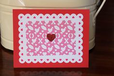 Handmade Valentine's Day Card/Red and White Card with Hearts /Red Card/Unique/Free Shipping by TresorValeur on Etsy