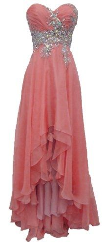 Meier Women's Strapless Beaded High Low Prom Dress in Blush