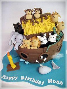 Noah's Ark Cake for Joshy Noahs Ark Cake, Noahs Ark Theme, Dedication Cake, Fondant, Cute Cakes, Awesome Cakes, Animal Cakes, Cake Pictures, Novelty Cakes