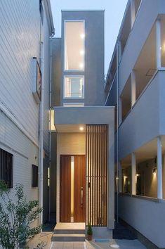 Minimalist House Design, Tiny House Design, Minimalist Home, Narrow Lot House Plans, Narrow House, Home Building Design, Building A House, Interior Exterior, Exterior Design