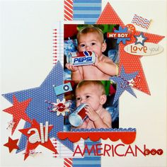 Stars and stripes layout, cute! By JulieJohnson_AllAmericanBoy_layout