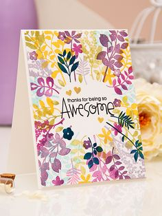 So pretty and colorful. Yana Smakula | Paper Smooches - Thanks for Being So Awesome Card