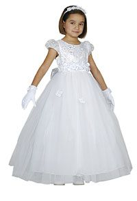 Flower Girl Dresses - Girls Dress Style 1078- WHITE Organza and Tulle Embroidered Dress