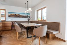 """A cozy dining area with a wonderful """"view"""". The simple table frame not only offers plenty of legroom, but also has its visual appeal. The wooden elements in this house, like the rest of the basic furniture, were made from elm. Dining Area, Dining Bench, Dining Room, Table Frame, Home Reno, Küchen Design, Home Kitchens, Living Spaces, Sweet Home"""
