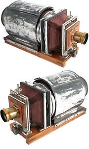 Antique Trappeniers Magic Lantern Slide Projector wood brass steel + red bellow