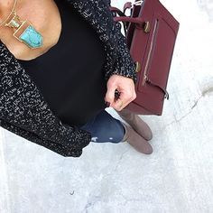 Daily Outfits: Cozy Sweater, Marled Sweater, Turquoise statement choker necklace, grey knee boots | On the Daily EXPRESS | IG: @ontheDailyX