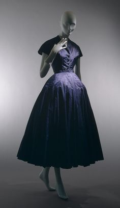 """Chérie by Christian Dior circa 1947. The raised bust line and volume of the skirt are classic elements of the """"New Look"""""""