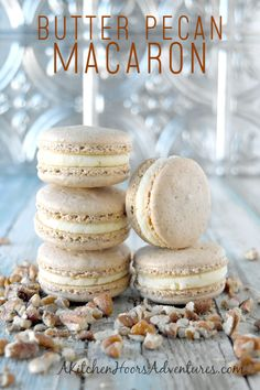 Butter Pecan Macaron have pecans in the shells and butter flavor in the buttercream. They were so good they VANISHED! The intoxicating butter flavor with the sweet pecan shells are irresistible. French Macaroon Recipes, French Macaroons, French Macaron Flavors, Bakery Recipes, Cookie Recipes, Dessert Recipes, Just Desserts, Delicious Desserts, Macaroons Flavors