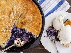 This beautiful blueberry cobbler tastes even better than it looks. Filled to the brim with beautiful blueberries and topped with a cornmeal-sugar cookie crust, this cobbler is way too delicious to pass up.