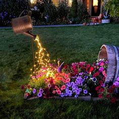 DIY Watering Can Lights, Battery Operated Fairy Light, Patio String Li – If you say i do Solar Panel Lights, Hanging Lights, Decorative Solar Lights, Decorative Lighting, Moon Plant, Glow Water, Patio String Lights, Light String, Metal Watering Can