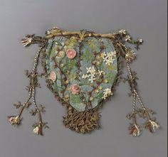 Round drawstring bag  DIMENSIONS  14.5 x 15.5 x 1.2 cm (5 11/16 x 6 1/8 x 1/2 in.)  MEDIUM OR TECHNIQUE  Silk net with silk bibila lace, gilt metal thread and tassel, and silk cord