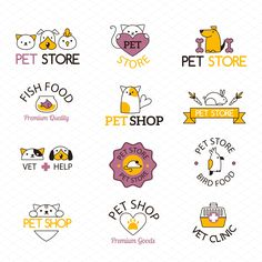 Logo for pet shop vector set by KitVector on Shop Logo, Pet Branding, Pet Clinic, Animal Clinic, Cat Logo, Animal Logo, Animal Design, Pet Store, Graphic Illustration