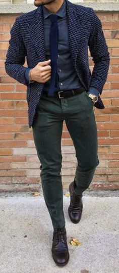 I like the shirt and pant combination, but I would ditch the blazer and wear a different color tie