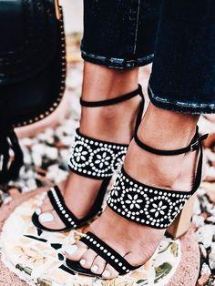 embellished black block heels