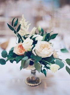 Table flowers - low, greenery and light pink, white (we will have mercury candle holder on the tables as well) (simple centerpieces greenery)