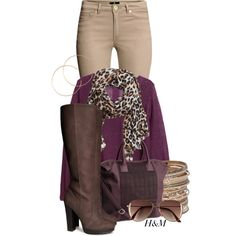 """ for Fall"" nice wine color with leopard print scarf, beige pants to make it less crazy, and cute boots"