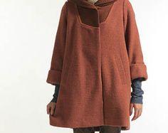 Rosso mattone lana cappotto Loose Fitting grandi dimensioni cappotto di lana