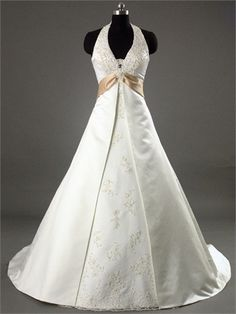 Sash A-line Halter V-neckline with Beadings and Appliques Satin Wedding Dress WD1066 www.tidedresses.co.uk $232.0000