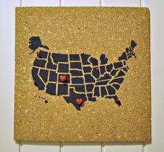 Pinnable Cork Map Of The Us Travel Corkboard United States - Corkboard us map