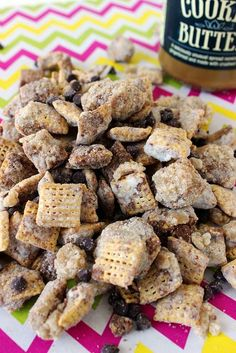 Cookie Dough Muddy Buddies by Beyond Frosting. Edible cookie dough~ butter, brown sugar, sugar, vanilla, flour, salt, milk, mini chocolate chips. Add with chex cereal, milk chocolate chips, cookie butter, vanilla, butter, confectionary sugar