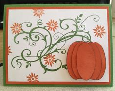 I cased this brilliant pumpkin card from a post on Pinterest. Mine is made with Stampin' Up Really Rust and Garden Green