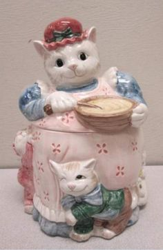 FITZ and FLOYD Mama CAT Kittens Cookie Jar Sugar by LONLAR803, $40.00