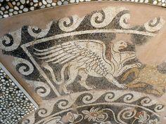 Griffon pebble mosaic. Pella, Greece. 400BC.