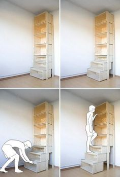 StairCase by Danny Kuo. Shelves and pull-out drawers.