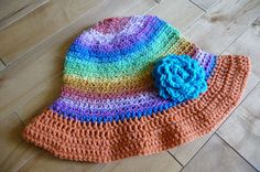 Free Crochet Pattern of a adult summer hat with brim. Spring Fever hits again.