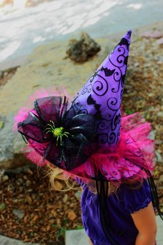 Hey, I found this really awesome Etsy listing at http://www.etsy.com/listing/108198732/georgeous-toddler-witch-hat-green-purple