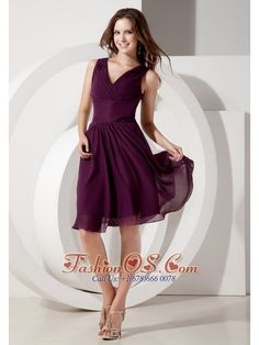 Buy beading dark purple v neck chiffon dama dress empire knee length from dama dresses for quinceanera collection, v neck neckline empire in purple color,cheap knee length chiffon dress with zipper back and for sweet 16 quinceanera wedding party . Dark Purple Bridesmaid Dresses, Inexpensive Bridesmaid Dresses, Purple Party Dress, Purple Cocktail Dress, Bridesmaid Gowns, Cocktail Dresses, Dama Dresses, Quinceanera Dresses, Chiffon Dresses