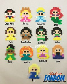 DISNEY PRINCESS Party Favor - Disney Princess Party Favor perler beads by MadamFANDOM - ***original MadamFANDOM designs. Do not copy!***