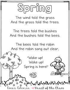 - Heart of the Class Kindergarten Poems, Preschool Poems, Kids Poems, Preschool Activities, Preschool Spring Songs, Starting Kindergarten, Spring Poems For Kids, Poetry For Kids, Poem About Spring