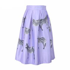 Free Shipping New Spring 2016 Fashion Brand Animal Zebra Print High Waist Ball Gown Skirt For Women With Lining Size S