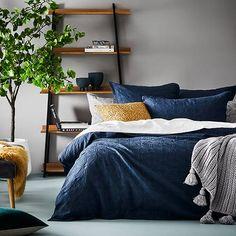 Villa Matelasse Navy Quilt Cover - Home Republic Navy Blue Bedding, Navy Quilt, Duvet, Linen Bedding, Bed Linen, Bedding Sets, Navy Furniture, Custom Furniture, Master Bedroom Interior