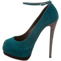 Pre-owned Giuseppe Zanotti Peep-Toe Platform Pumps (16425 DZD) ❤ liked on Polyvore featuring shoes, pumps, blue, platform pumps, peep toe pumps, blue peep toe pumps, blue suede pumps and blue shoes