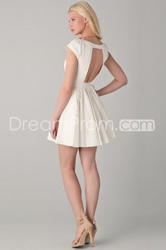 2014 Elaborately Graduation/Prom Dresses Bateau A Line Short/Mini Open Back Soft Satin Hot Selling